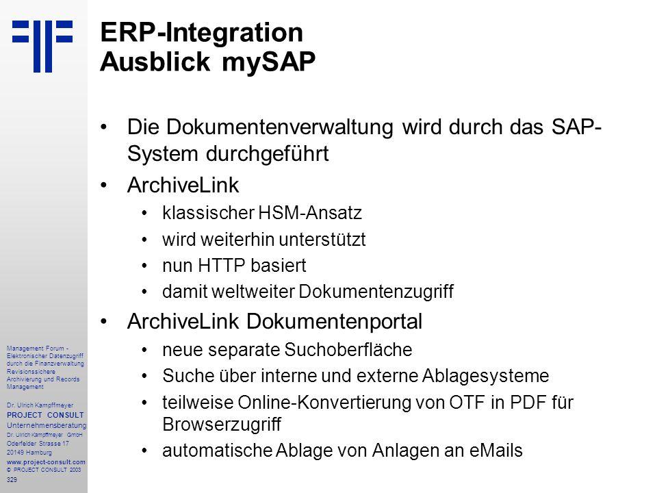 329 Management Forum - Elektronischer Datenzugriff durch die Finanzverwaltung Revisionssichere Archivierung und Records Management Dr. Ulrich Kampffme