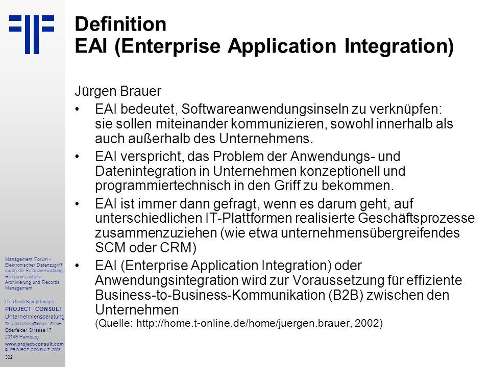 332 Management Forum - Elektronischer Datenzugriff durch die Finanzverwaltung Revisionssichere Archivierung und Records Management Dr. Ulrich Kampffme