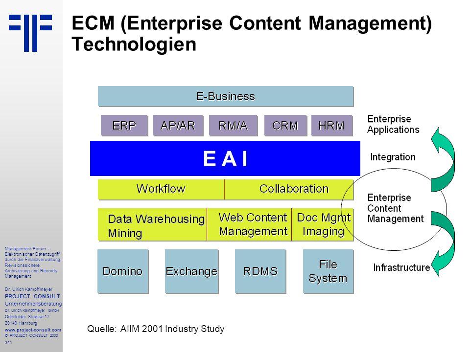 341 Management Forum - Elektronischer Datenzugriff durch die Finanzverwaltung Revisionssichere Archivierung und Records Management Dr. Ulrich Kampffme