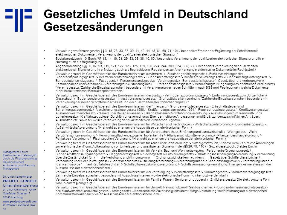 35 Management Forum - Elektronischer Datenzugriff durch die Finanzverwaltung Revisionssichere Archivierung und Records Management Dr. Ulrich Kampffmey