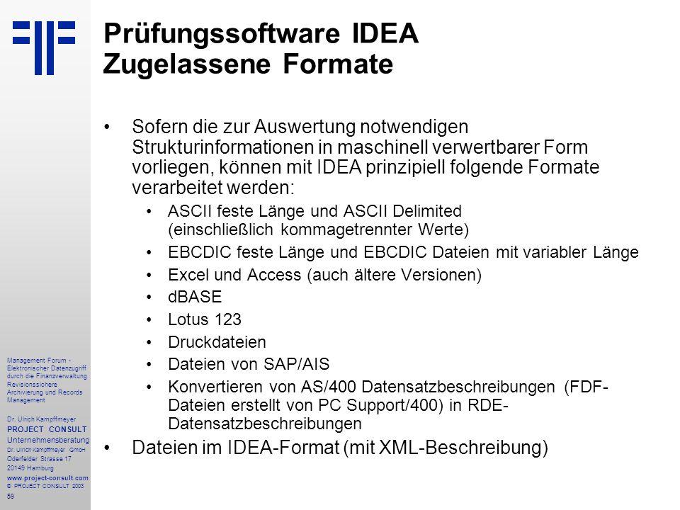 59 Management Forum - Elektronischer Datenzugriff durch die Finanzverwaltung Revisionssichere Archivierung und Records Management Dr. Ulrich Kampffmey