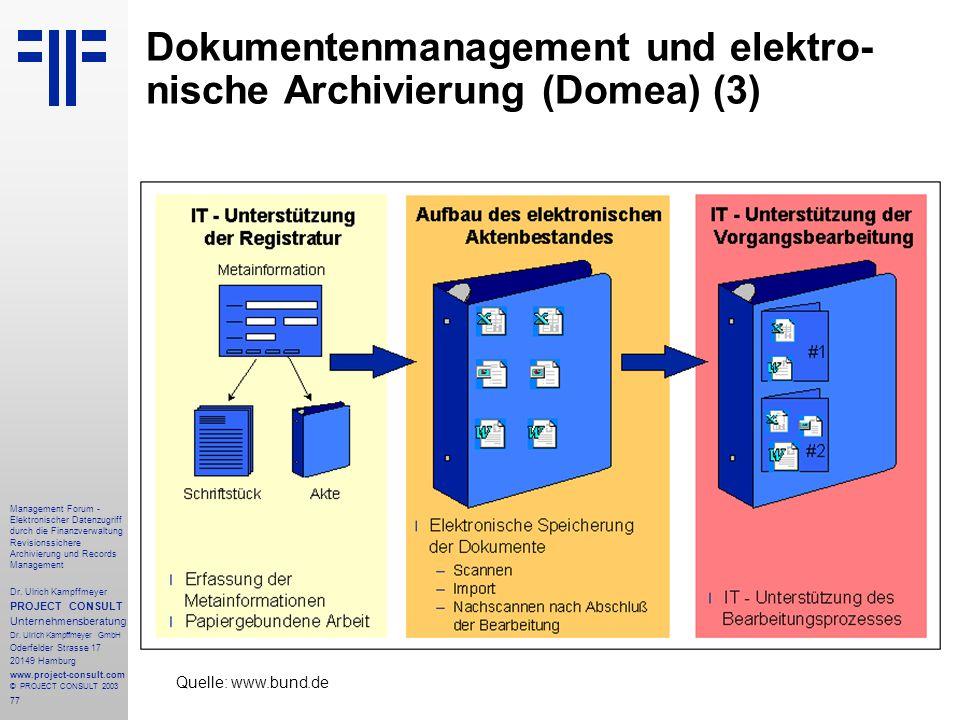 77 Management Forum - Elektronischer Datenzugriff durch die Finanzverwaltung Revisionssichere Archivierung und Records Management Dr. Ulrich Kampffmey