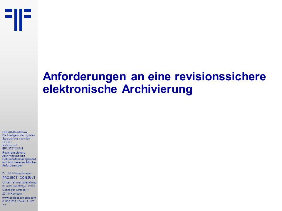 32 GDPdU-Roadshow Die Intelligenz der digitalen Stuerprüfung nach den GDPdU audicon und ERNST&YOUNG Revisionssichere Archivierung und Dokumentenmanagement im Licht neuer rechtlicher Anforderungen Dr.