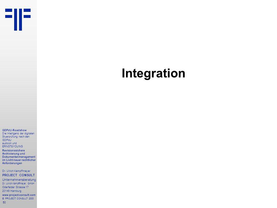 50 GDPdU-Roadshow Die Intelligenz der digitalen Stuerprüfung nach den GDPdU audicon und ERNST&YOUNG Revisionssichere Archivierung und Dokumentenmanagement im Licht neuer rechtlicher Anforderungen Dr.
