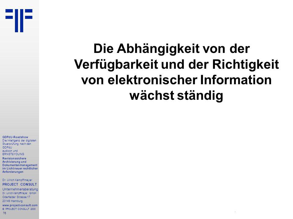 76 GDPdU-Roadshow Die Intelligenz der digitalen Stuerprüfung nach den GDPdU audicon und ERNST&YOUNG Revisionssichere Archivierung und Dokumentenmanagement im Licht neuer rechtlicher Anforderungen Dr.