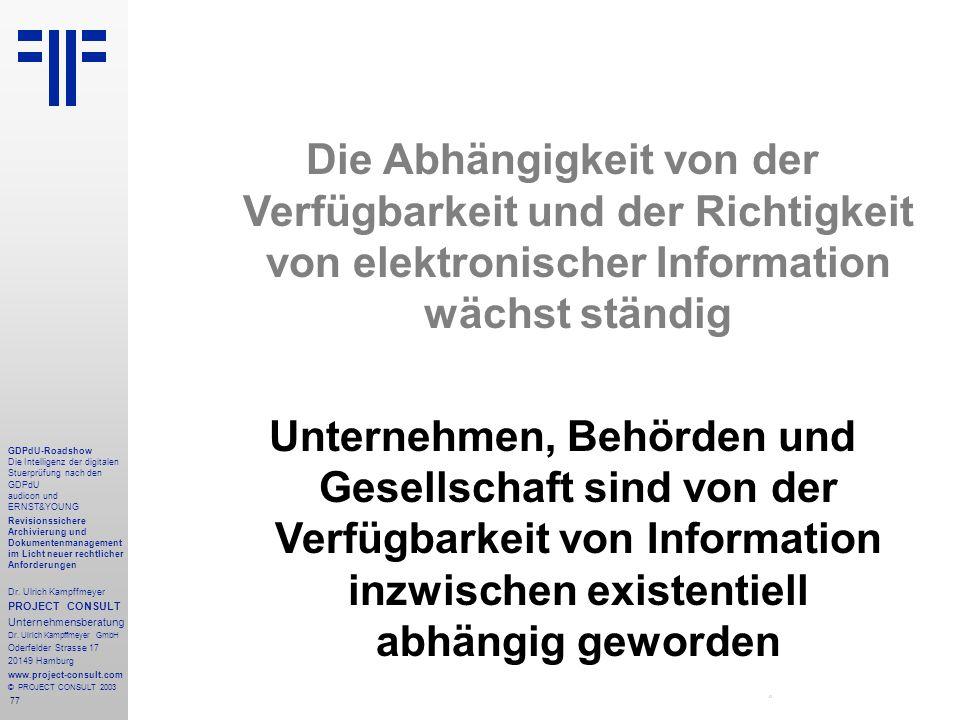 77 GDPdU-Roadshow Die Intelligenz der digitalen Stuerprüfung nach den GDPdU audicon und ERNST&YOUNG Revisionssichere Archivierung und Dokumentenmanagement im Licht neuer rechtlicher Anforderungen Dr.