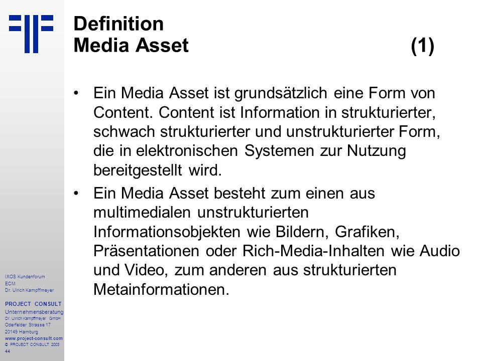 44 IXOS Kundenforum ECM Dr. Ulrich Kampffmeyer PROJECT CONSULT Unternehmensberatung Dr.