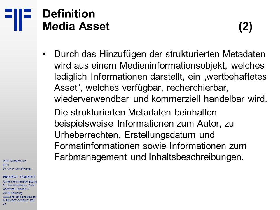 45 IXOS Kundenforum ECM Dr. Ulrich Kampffmeyer PROJECT CONSULT Unternehmensberatung Dr.