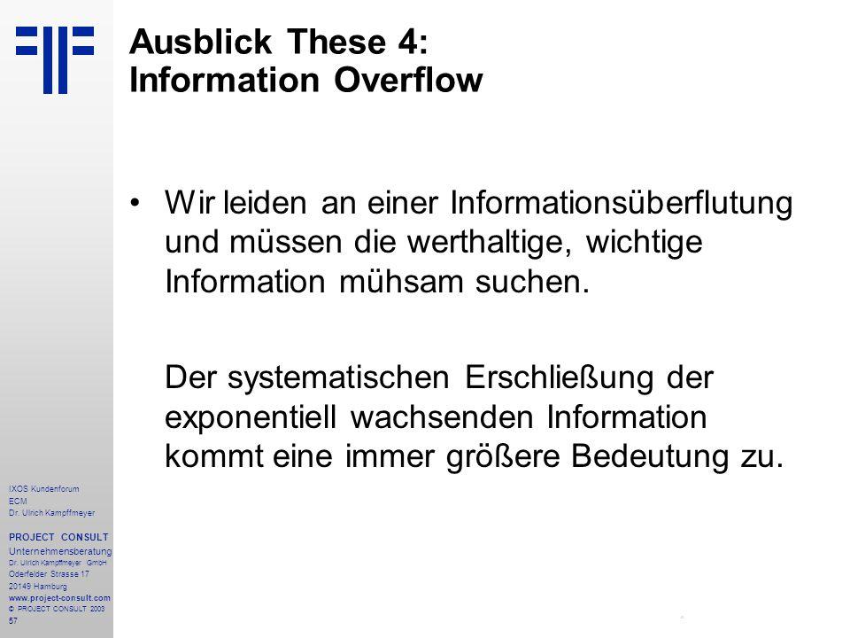 57 IXOS Kundenforum ECM Dr. Ulrich Kampffmeyer PROJECT CONSULT Unternehmensberatung Dr.