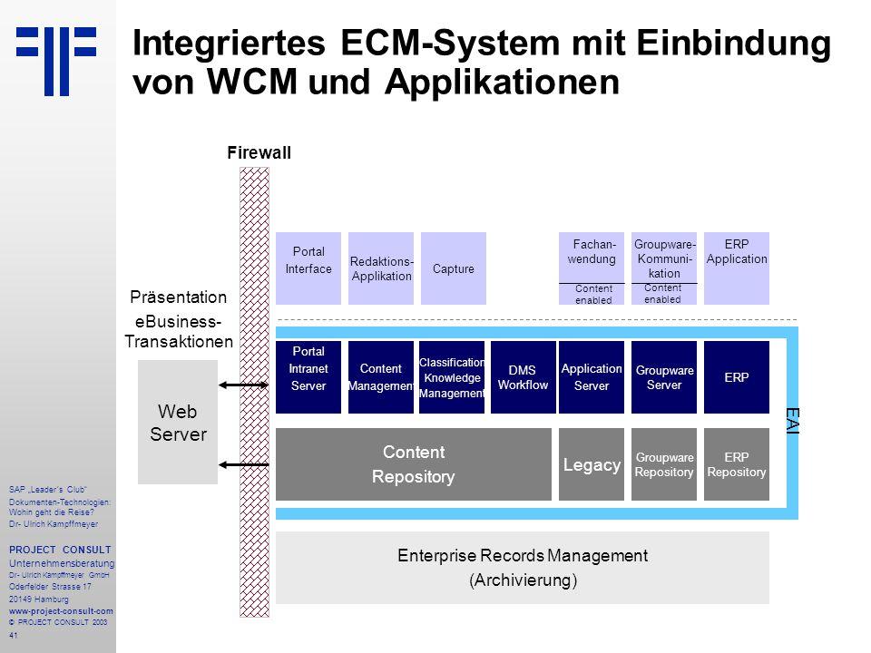 """41 SAP """"Leader´s Club"""" Dokumenten-Technologien: Wohin geht die Reise? Dr- Ulrich Kampffmeyer PROJECT CONSULT Unternehmensberatung Dr- Ulrich Kampffmey"""