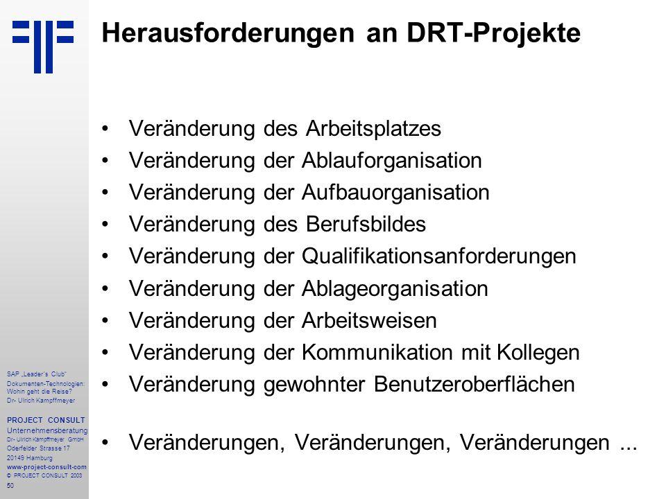 """50 SAP """"Leader´s Club"""" Dokumenten-Technologien: Wohin geht die Reise? Dr- Ulrich Kampffmeyer PROJECT CONSULT Unternehmensberatung Dr- Ulrich Kampffmey"""
