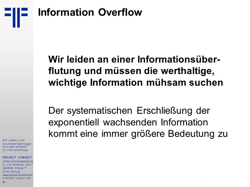 """58 SAP """"Leader´s Club"""" Dokumenten-Technologien: Wohin geht die Reise? Dr- Ulrich Kampffmeyer PROJECT CONSULT Unternehmensberatung Dr- Ulrich Kampffmey"""