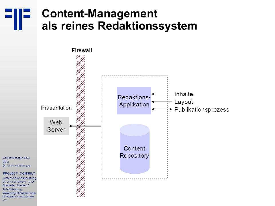 17 ContentManager.Days ECM Dr. Ulrich Kampffmeyer PROJECT CONSULT Unternehmensberatung Dr.