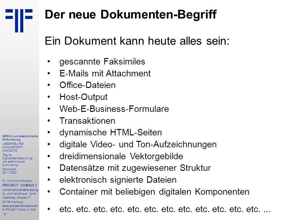 10 GDPdU und elektronische Archivierung UEBERREUTER MANAGEMENT AKADEMIE Tagung Digitale Betriebsprüfung und elektronische Archivierung Darmstadt 26.11.2003 Dr.