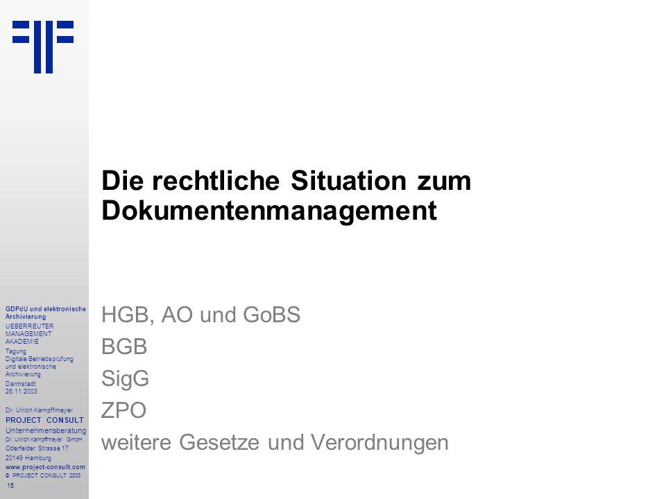 15 GDPdU und elektronische Archivierung UEBERREUTER MANAGEMENT AKADEMIE Tagung Digitale Betriebsprüfung und elektronische Archivierung Darmstadt 26.11.2003 Dr.
