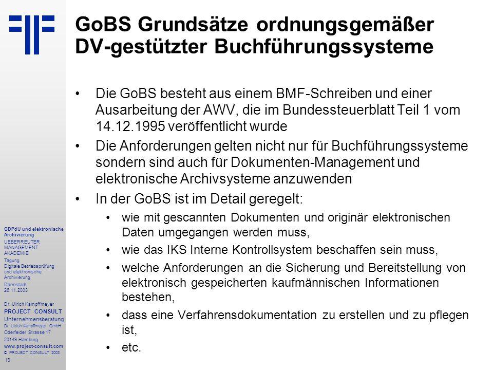 19 GDPdU und elektronische Archivierung UEBERREUTER MANAGEMENT AKADEMIE Tagung Digitale Betriebsprüfung und elektronische Archivierung Darmstadt 26.11.2003 Dr.