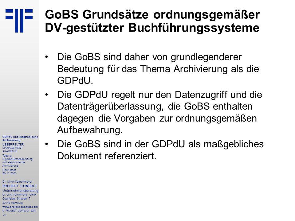20 GDPdU und elektronische Archivierung UEBERREUTER MANAGEMENT AKADEMIE Tagung Digitale Betriebsprüfung und elektronische Archivierung Darmstadt 26.11.2003 Dr.