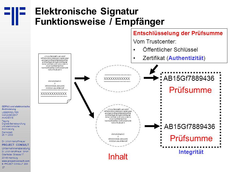 27 GDPdU und elektronische Archivierung UEBERREUTER MANAGEMENT AKADEMIE Tagung Digitale Betriebsprüfung und elektronische Archivierung Darmstadt 26.11.2003 Dr.