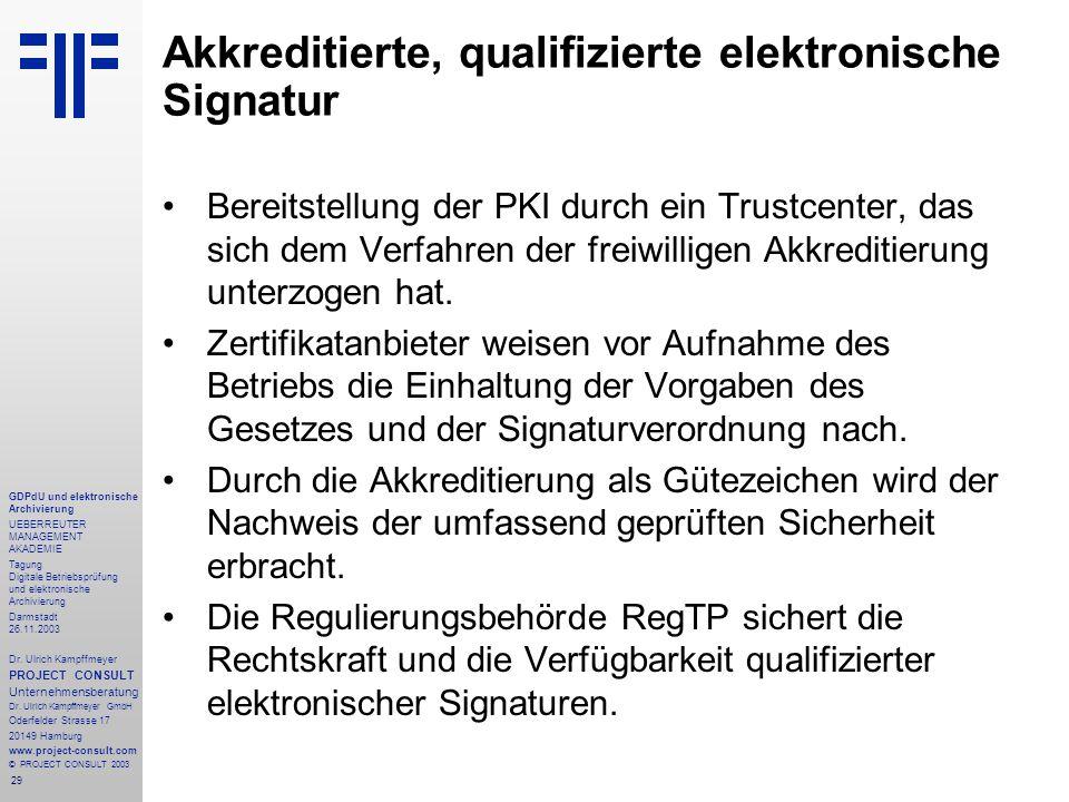 29 GDPdU und elektronische Archivierung UEBERREUTER MANAGEMENT AKADEMIE Tagung Digitale Betriebsprüfung und elektronische Archivierung Darmstadt 26.11.2003 Dr.