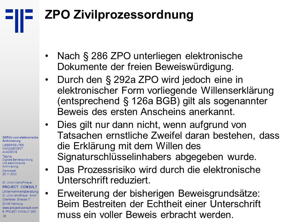 30 GDPdU und elektronische Archivierung UEBERREUTER MANAGEMENT AKADEMIE Tagung Digitale Betriebsprüfung und elektronische Archivierung Darmstadt 26.11.2003 Dr.