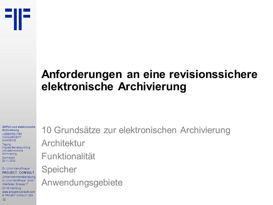 32 GDPdU und elektronische Archivierung UEBERREUTER MANAGEMENT AKADEMIE Tagung Digitale Betriebsprüfung und elektronische Archivierung Darmstadt 26.11.2003 Dr.