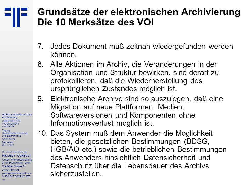 34 GDPdU und elektronische Archivierung UEBERREUTER MANAGEMENT AKADEMIE Tagung Digitale Betriebsprüfung und elektronische Archivierung Darmstadt 26.11.2003 Dr.
