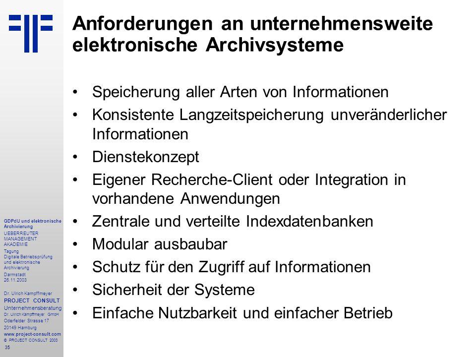 35 GDPdU und elektronische Archivierung UEBERREUTER MANAGEMENT AKADEMIE Tagung Digitale Betriebsprüfung und elektronische Archivierung Darmstadt 26.11.2003 Dr.