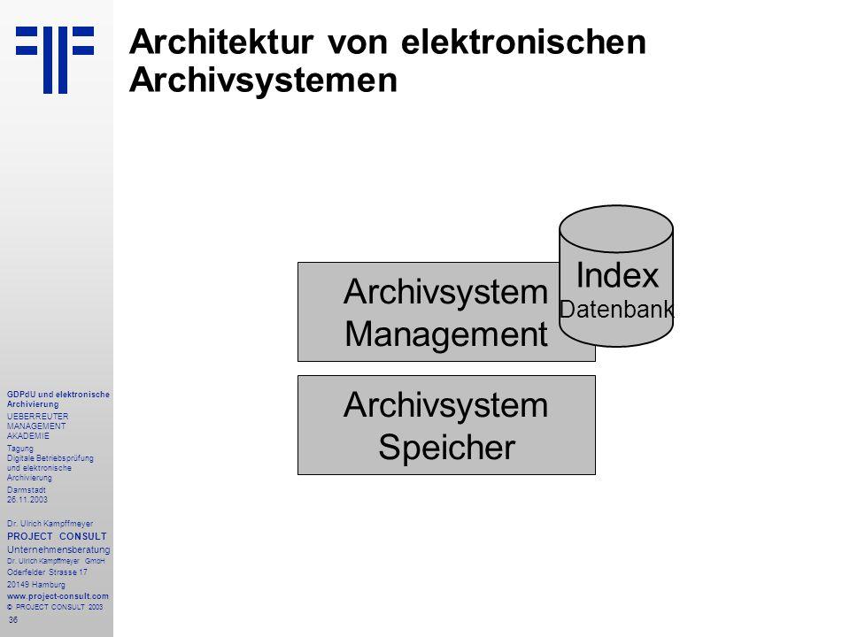 36 GDPdU und elektronische Archivierung UEBERREUTER MANAGEMENT AKADEMIE Tagung Digitale Betriebsprüfung und elektronische Archivierung Darmstadt 26.11.2003 Dr.