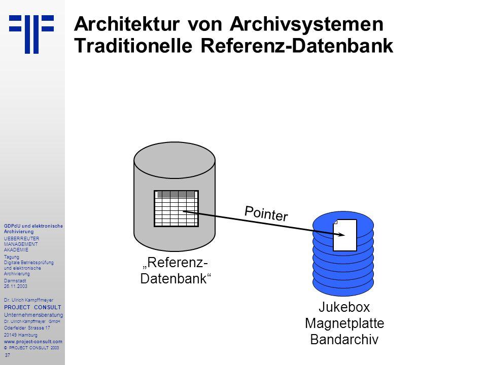 37 GDPdU und elektronische Archivierung UEBERREUTER MANAGEMENT AKADEMIE Tagung Digitale Betriebsprüfung und elektronische Archivierung Darmstadt 26.11.2003 Dr.