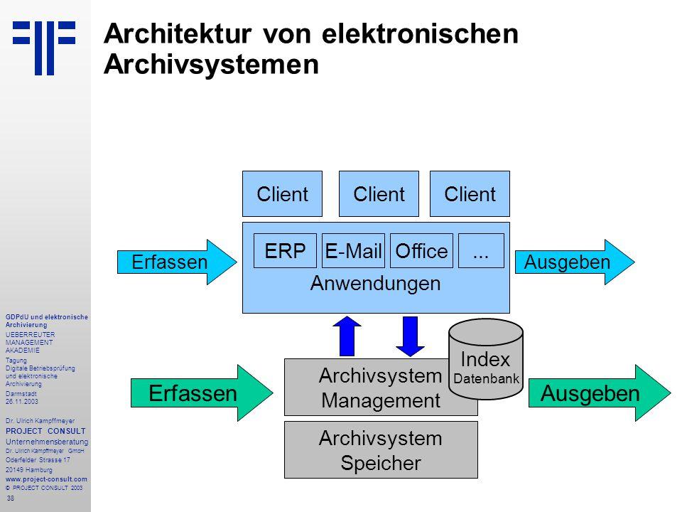 38 GDPdU und elektronische Archivierung UEBERREUTER MANAGEMENT AKADEMIE Tagung Digitale Betriebsprüfung und elektronische Archivierung Darmstadt 26.11.2003 Dr.