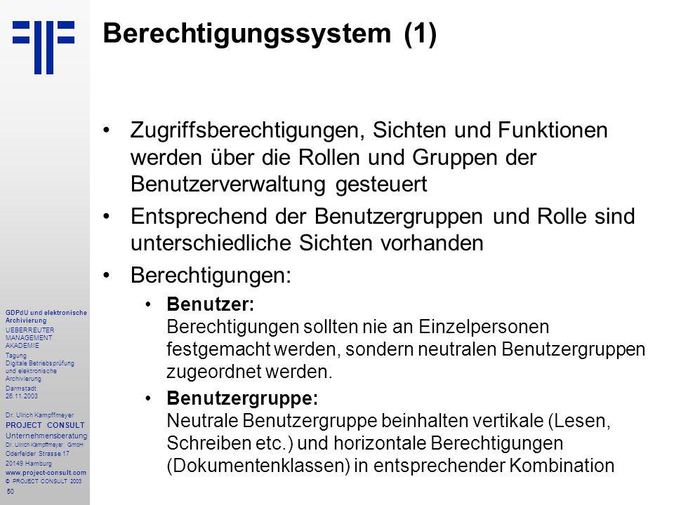 50 GDPdU und elektronische Archivierung UEBERREUTER MANAGEMENT AKADEMIE Tagung Digitale Betriebsprüfung und elektronische Archivierung Darmstadt 26.11.2003 Dr.