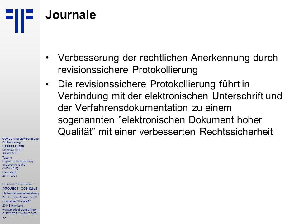 55 GDPdU und elektronische Archivierung UEBERREUTER MANAGEMENT AKADEMIE Tagung Digitale Betriebsprüfung und elektronische Archivierung Darmstadt 26.11.2003 Dr.