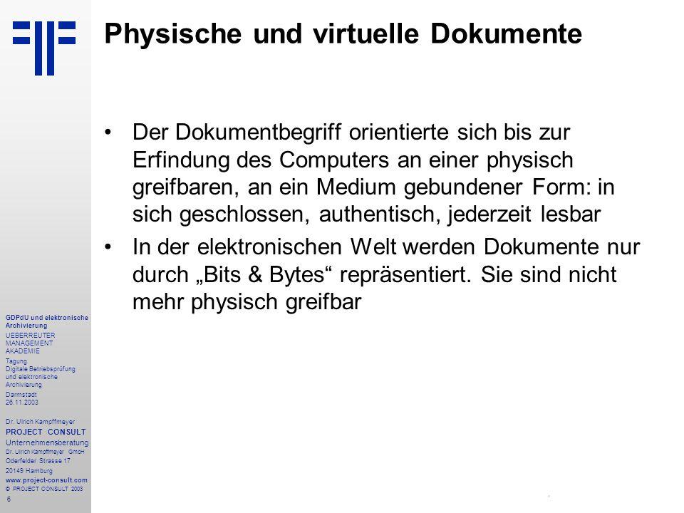 6 GDPdU und elektronische Archivierung UEBERREUTER MANAGEMENT AKADEMIE Tagung Digitale Betriebsprüfung und elektronische Archivierung Darmstadt 26.11.2003 Dr.