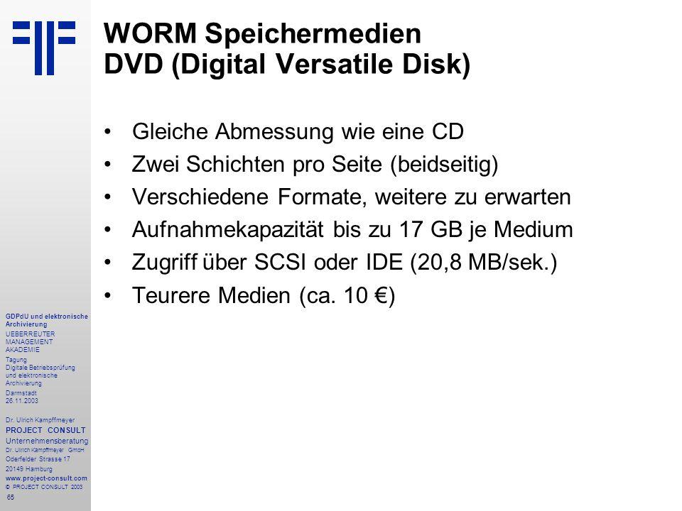 65 GDPdU und elektronische Archivierung UEBERREUTER MANAGEMENT AKADEMIE Tagung Digitale Betriebsprüfung und elektronische Archivierung Darmstadt 26.11.2003 Dr.