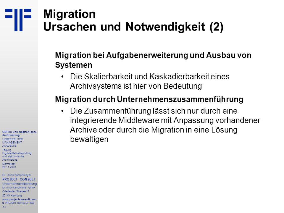 81 GDPdU und elektronische Archivierung UEBERREUTER MANAGEMENT AKADEMIE Tagung Digitale Betriebsprüfung und elektronische Archivierung Darmstadt 26.11.2003 Dr.