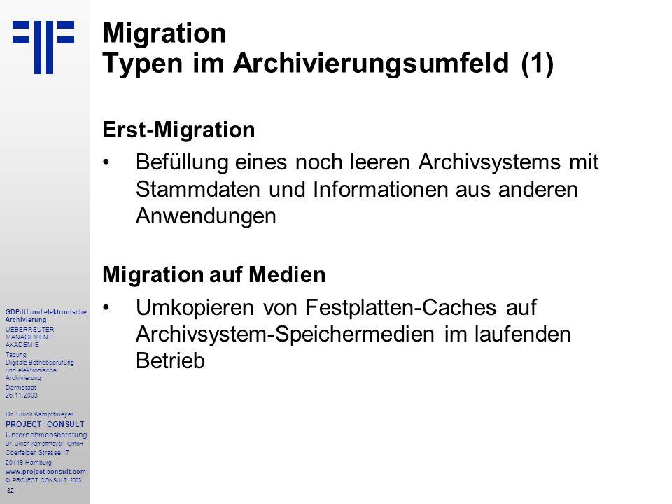 82 GDPdU und elektronische Archivierung UEBERREUTER MANAGEMENT AKADEMIE Tagung Digitale Betriebsprüfung und elektronische Archivierung Darmstadt 26.11.2003 Dr.