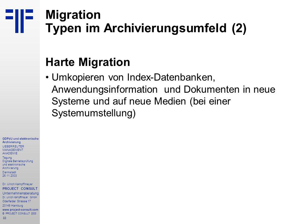 83 GDPdU und elektronische Archivierung UEBERREUTER MANAGEMENT AKADEMIE Tagung Digitale Betriebsprüfung und elektronische Archivierung Darmstadt 26.11.2003 Dr.