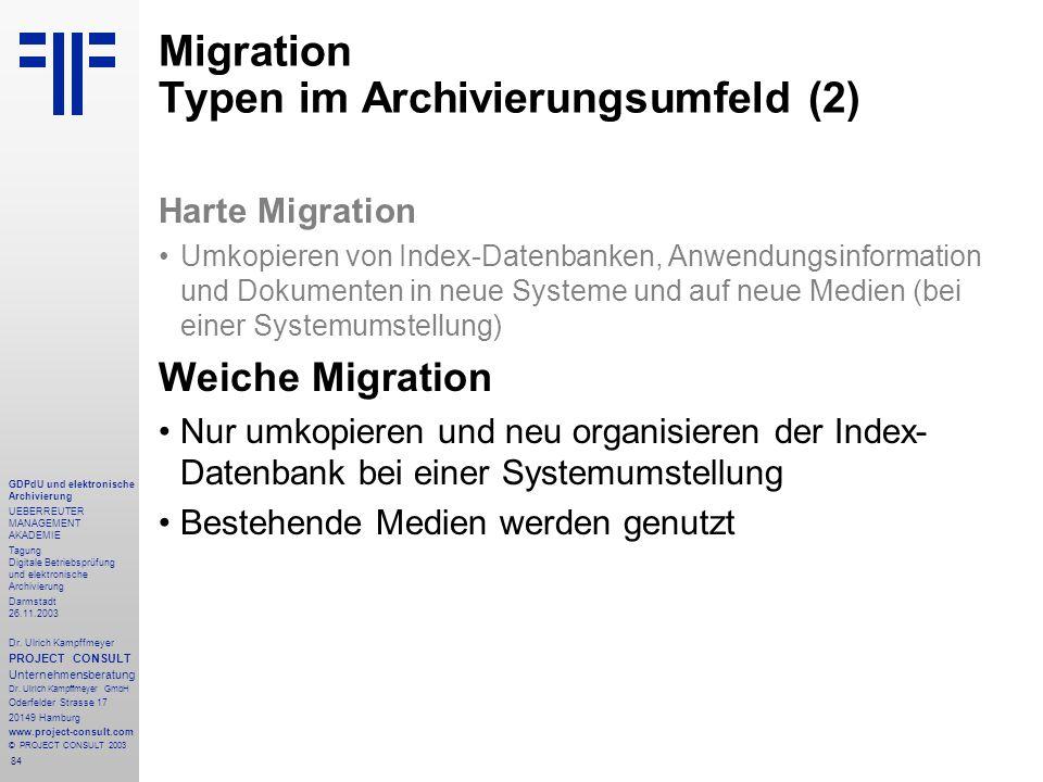 84 GDPdU und elektronische Archivierung UEBERREUTER MANAGEMENT AKADEMIE Tagung Digitale Betriebsprüfung und elektronische Archivierung Darmstadt 26.11.2003 Dr.
