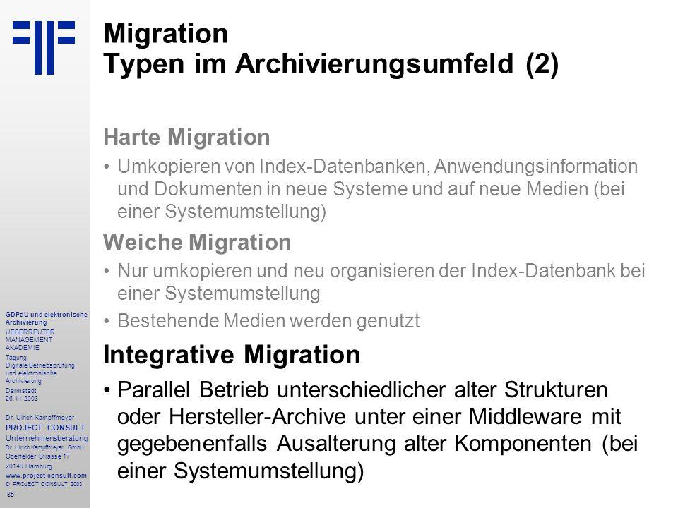 85 GDPdU und elektronische Archivierung UEBERREUTER MANAGEMENT AKADEMIE Tagung Digitale Betriebsprüfung und elektronische Archivierung Darmstadt 26.11.2003 Dr.