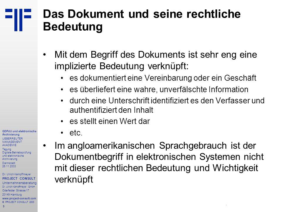 9 GDPdU und elektronische Archivierung UEBERREUTER MANAGEMENT AKADEMIE Tagung Digitale Betriebsprüfung und elektronische Archivierung Darmstadt 26.11.2003 Dr.