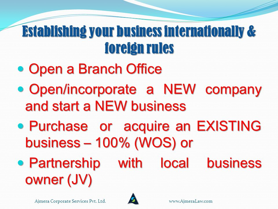 Establishing your business internationally & Indian rules Resident corporations and partnership firms registered under the Indian Partnership Act, 1932 may undertake agricultural operations including purchase of land incidental to such activity either directly or through their overseas offices, provided: the Indian party is otherwise eligible to invest and such investment is within the overall specified limits, and for the purpose of such investment by acquisition of land overseas the valuation of land is certified by a certified valuer registered with the appropriate valuation authority in the host country.