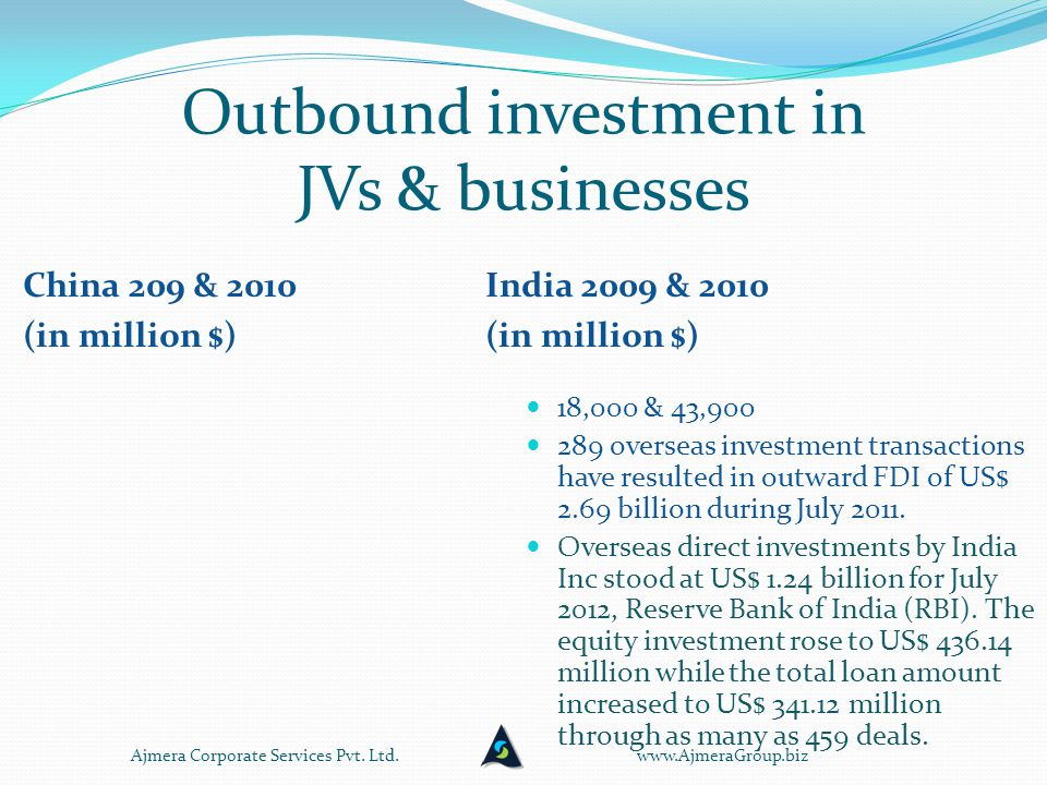 Outbound investment in JVs & businesses China 209 & 2010 (in million $) India 2009 & 2010 (in million $) 18,000 & 43,900 289 overseas investment transactions have resulted in outward FDI of US$ 2.69 billion during July 2011.