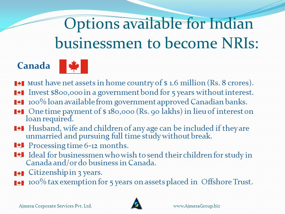 Options available for Indian businessmen to become NRIs: Canada -> M ust have net assets in home country of $ 1.6 million (Rs.