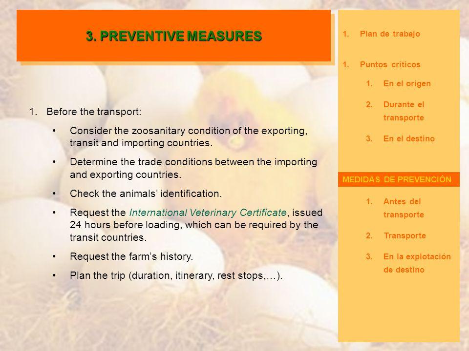 1.Plan de trabajo 1.Puntos críticos 1.En el origen 2.Durante el transporte 3.En el destino Medidas de prevención 1.Antes del transporte 2.Transporte 3