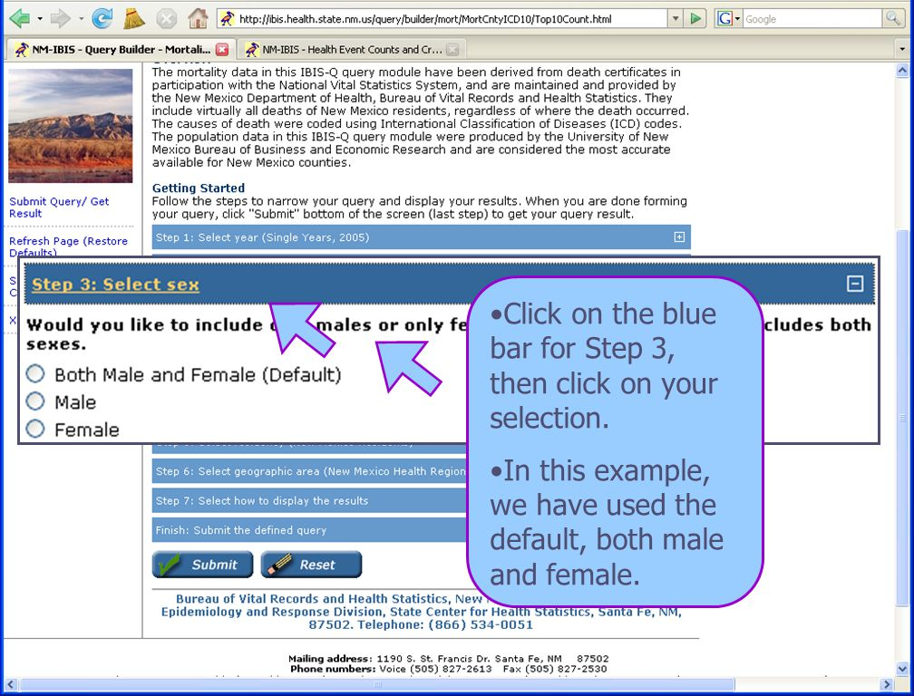 8/6/08 New Mexico Department of Health 14 Click on the blue bar for Step 3, then click on your selection.