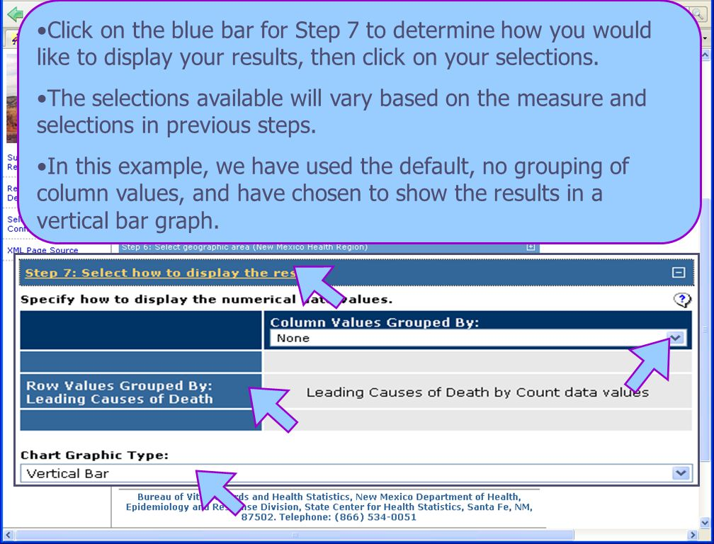 8/6/08 New Mexico Department of Health 20 Click on the blue bar for Step 7 to determine how you would like to display your results, then click on your selections.
