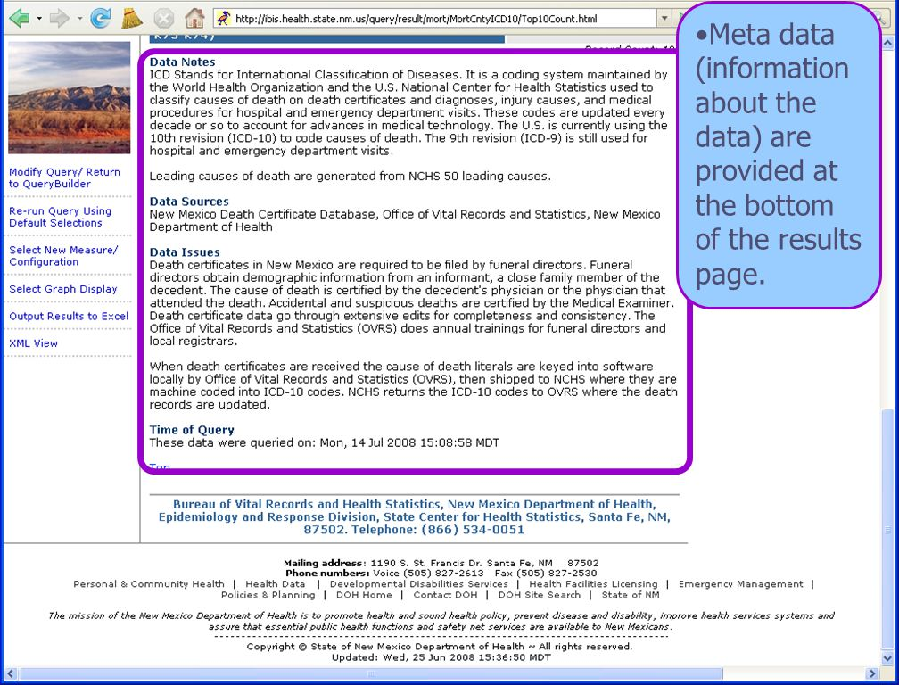 8/6/08 New Mexico Department of Health 23 Meta data (information about the data) are provided at the bottom of the results page.