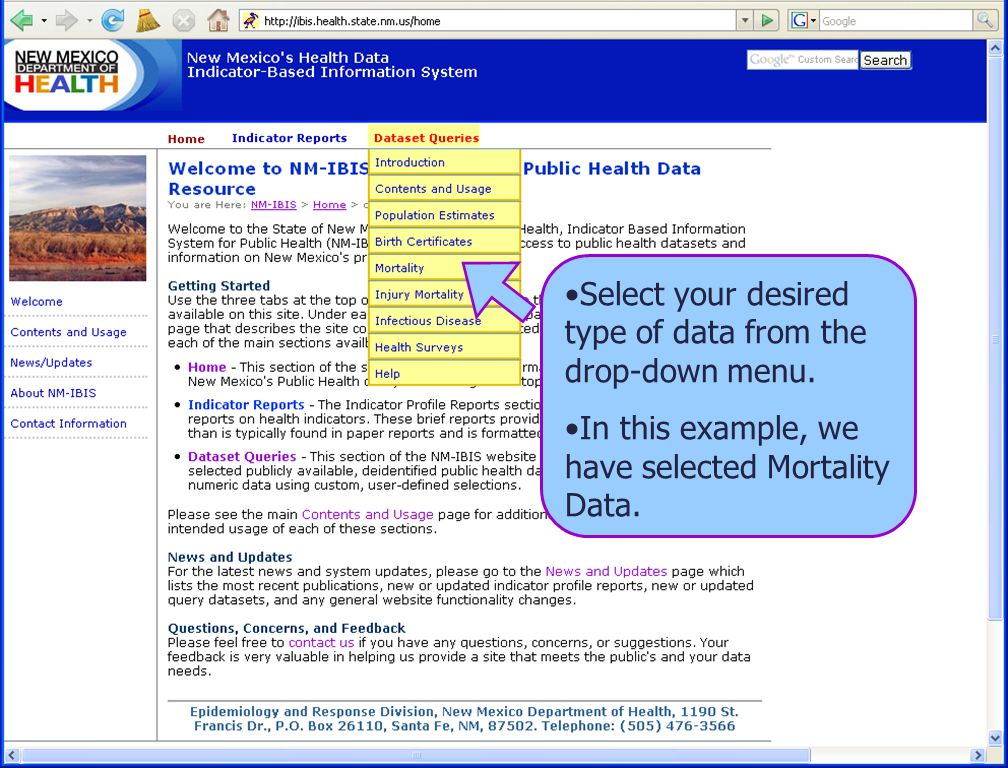 8/6/08 New Mexico Department of Health 4 Select your desired type of data from the drop-down menu.