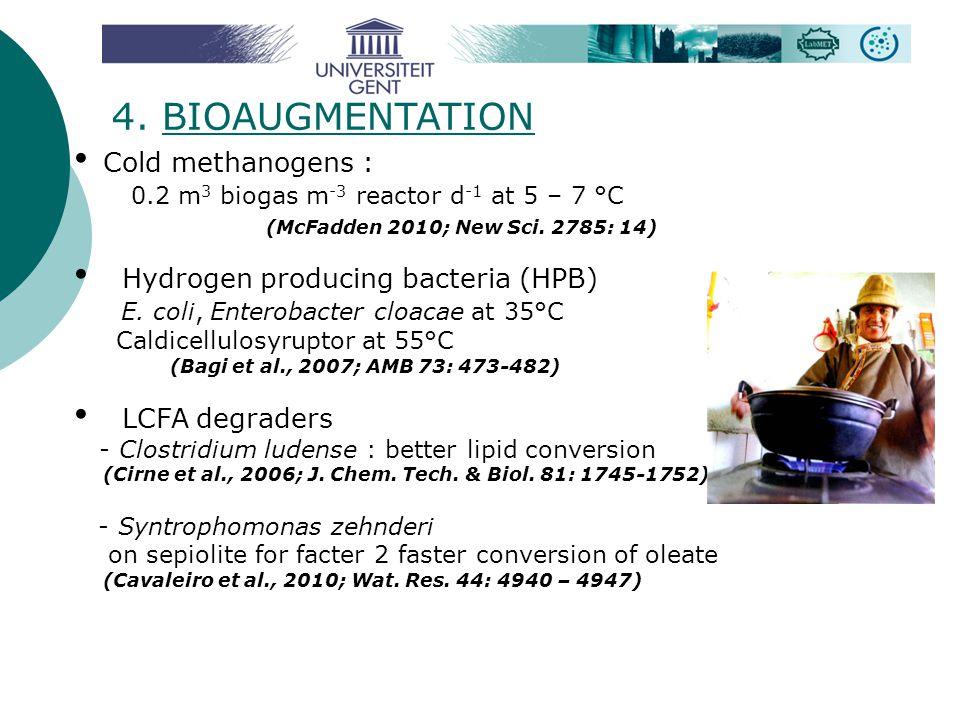 4. BIOAUGMENTATION Cold methanogens : 0.2 m 3 biogas m -3 reactor d -1 at 5 – 7 °C (McFadden 2010; New Sci. 2785: 14) Hydrogen producing bacteria (HPB