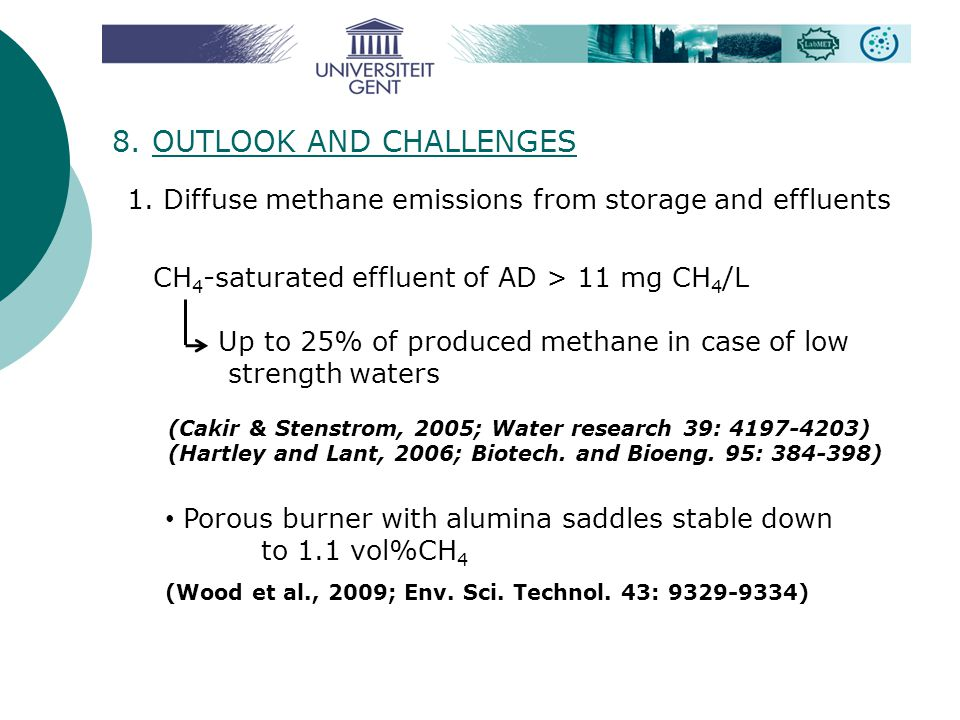 8. OUTLOOK AND CHALLENGES CH 4 -saturated effluent of AD > 11 mg CH 4 /L Up to 25% of produced methane in case of low strength waters (Cakir & Stenstr